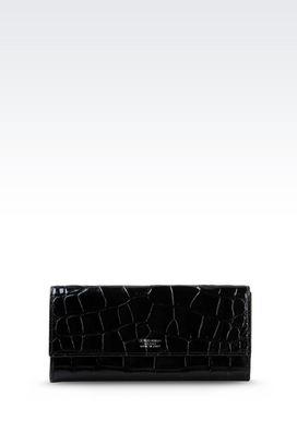 Armani Wallets Women button wallet in croc print calfskin