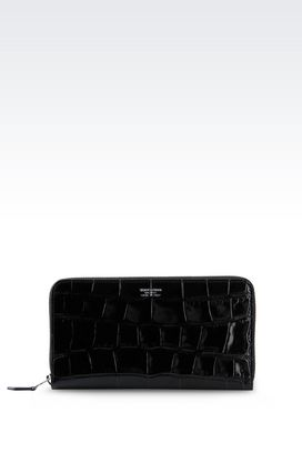Armani Wallets Women zip around wallet in croc print calfskin