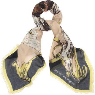 ALEXANDER MCQUEEN, Silk Fashion Scarf, Silk Chiffon Birdy Skull Scarf