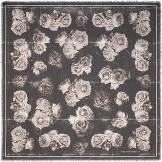 ALEXANDER MCQUEEN, Pashmina Fashion Scarf, Silk Chiffon Creased Roses Scarf