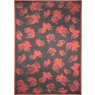 ALEXANDER MCQUEEN, Silk Fashion Scarf, Silk Chiffon Large Roses Scarf