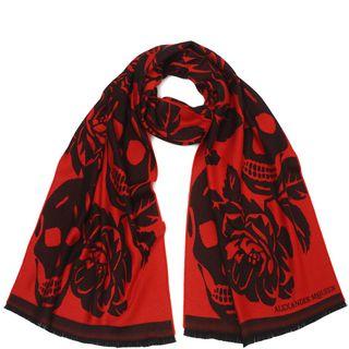 ALEXANDER MCQUEEN, Wool Fashion Scarf, Wool Oversize Bloom Skull Scarf