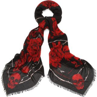 ALEXANDER MCQUEEN, Pashmina Fashion Scarf, Silk Blend Nest of Roses Scarf
