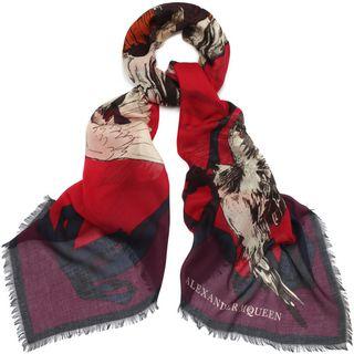 ALEXANDER MCQUEEN, Pashmina Fashion Scarf, Modal and Silk Birdy Skull Scarf