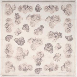 ALEXANDER MCQUEEN, Silk Fashion Scarf, Silk Chiffon Creased Roses Scarf