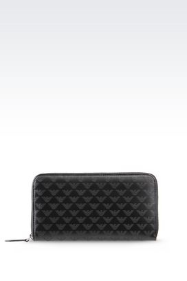 Armani Wallets Men zip around wallet in patterned logo calfskin