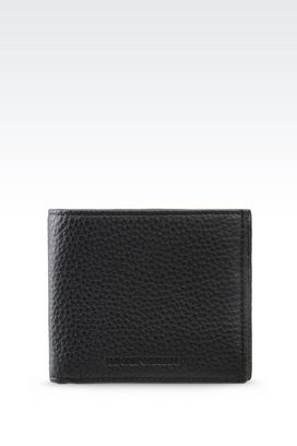Armani Wallets Men bi-fold wallet in grained calfskin