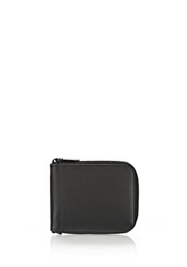 ZIPPED BI-FOLD WALLET IN SMOOTH BLACK