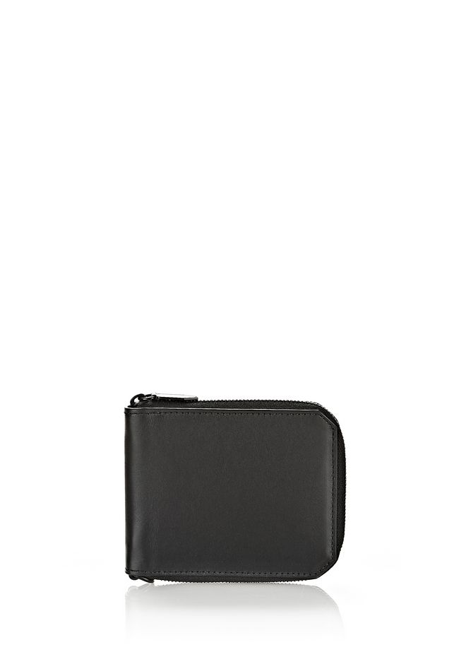 ALEXANDER WANG accessories ZIPPED BI-FOLD WALLET IN SMOOTH BLACK
