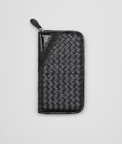 ZIP AROUND WALLET IN NERO INTRECCIATO NAPPA, AYERS AND PATENT LEATHER