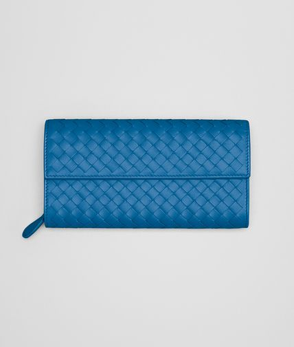CONTINENTAL WALLET IN BLUETTE INTRECCIATO NAPPA