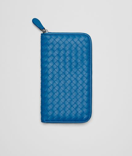 ZIP AROUND WALLET IN BLUETTE INTRECCIATO NAPPA