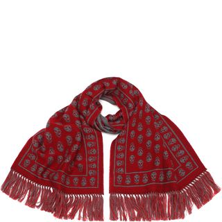ALEXANDER MCQUEEN, Wool Fashion Scarf, Up Side Down Skull Muffler