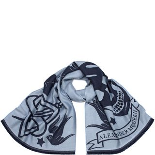 ALEXANDER MCQUEEN, Wool Fashion Scarf, Oversized Tattoo Scarf