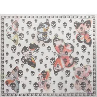 ALEXANDER MCQUEEN, Silk Fashion Scarf, Skull on Butterfly Scarf