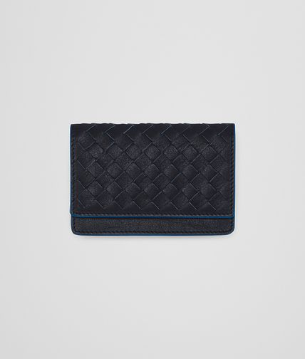 CARD CASE IN NEW DARK NAVY BLUETTE INTRECCIATO CALF