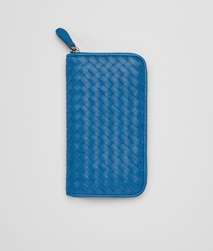 ZIP AROUND WALLET IN BLUETTE INTRECCIATO VN