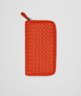 熔岩红编织小羊皮拉链钱包