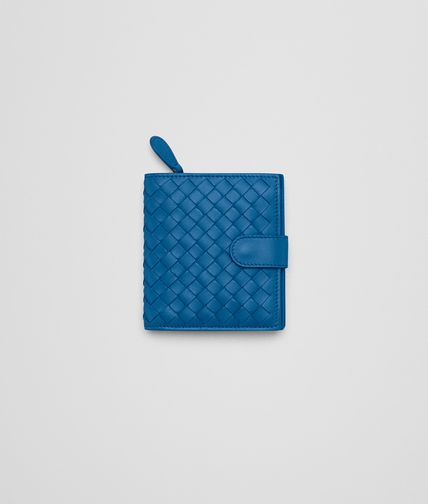 MINI WALLET IN BLUETTE INTRECCIATO NAPPA