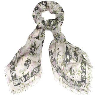 ALEXANDER MCQUEEN, Silk Fashion Scarf, Ramage Multiskull Pashmina