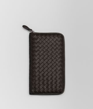 ZIP AROUND WALLET IN ESPRESSO INTRECCIATO NAPPA
