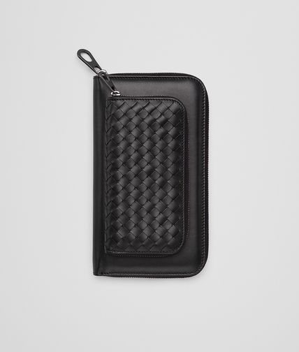 ZIP AROUND WALLET IN NERO CALF INTRECCIATO DETAILS