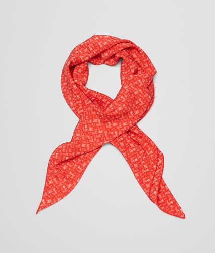FOULARD IN FLAME RED SILK