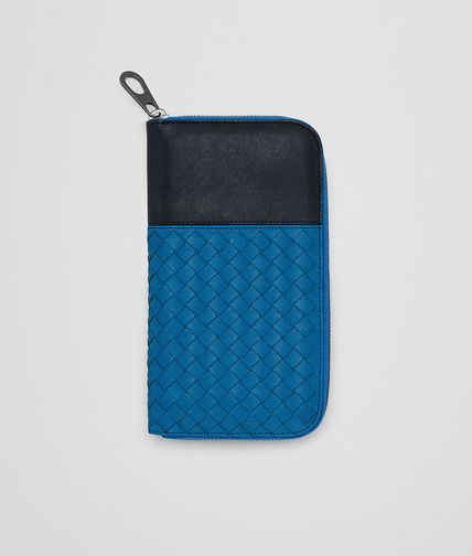 ZIP AROUND WALLET IN BLUETTE PRUSSE INTRECCIATO LAMBSKIN