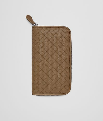 ZIP AROUND WALLET IN CAMEL INTRECCIATO NAPPA