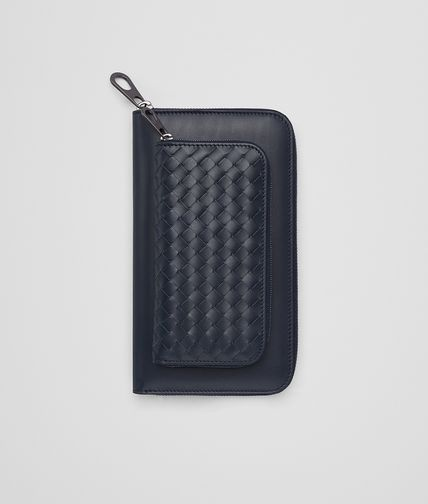 ZIP AROUND WALLET IN LIGHT TOURMALINE CALF INTRECCIATO DETAILS