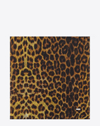 Large Square Scarf in Ocher, Yellow and Black Punk Leopard Printed Wool Étamine