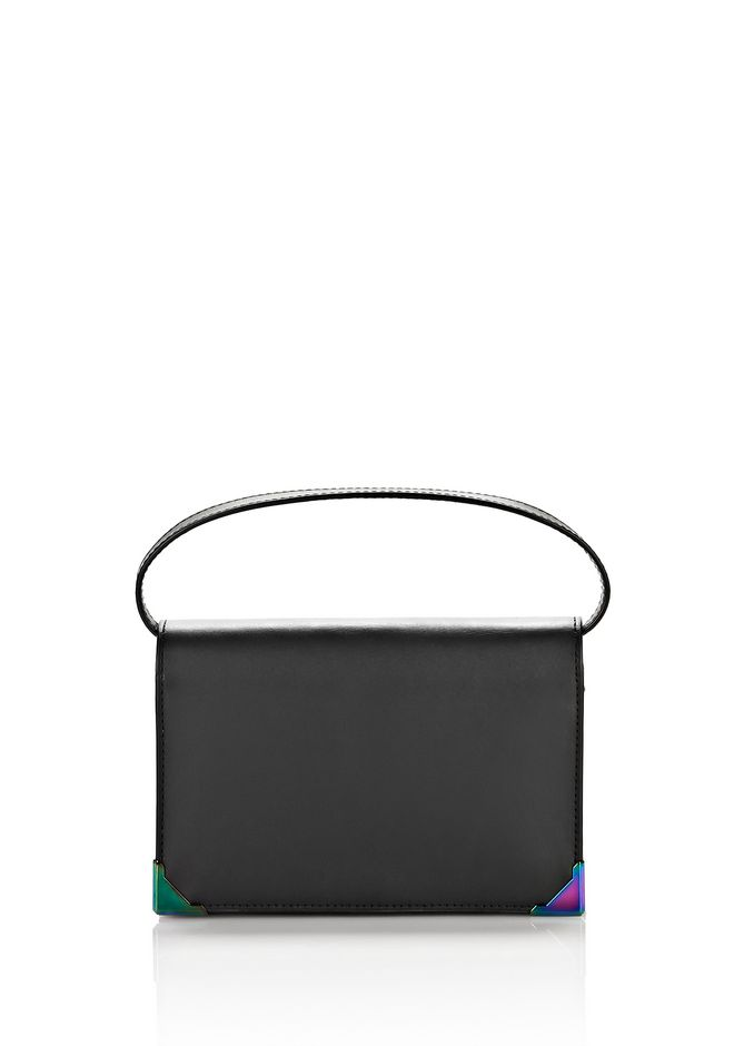 ALEXANDER WANG SMALL LEATHER GOODS Women EXCLUSIVE PRISMA BIKER PURSE IN BLACK WITH IRIDESCENT