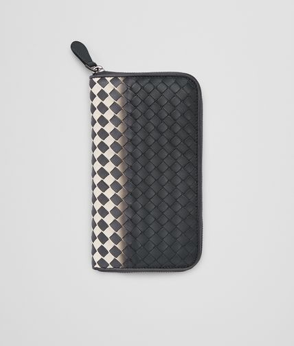 ZIP AROUND WALLET IN ARDOISE MIST INTRECCIATO NAPPA