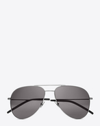 Small CLASSIC 11 AVIATOR SUNGLASSES IN Shiny Silver STEEL WITH Smoke LENSES