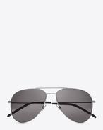 Kleine Classic 11 Pilotensonnenbrille aus glänzend silberfarbenem Stahl mit grauen Gläsern