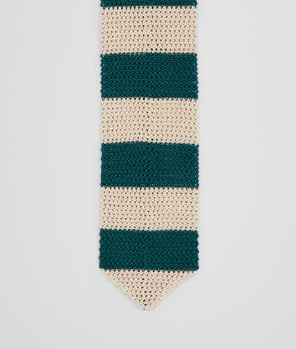 TIE IN TAUPE BLUE KNITTED SILK