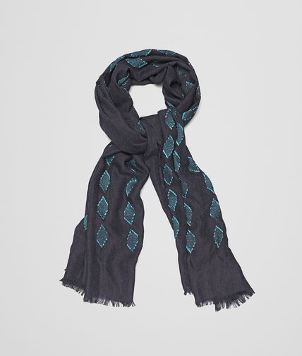 SCARF IN MIDNIGHT BLUE DARK GREEN SILK AND VISCOSE