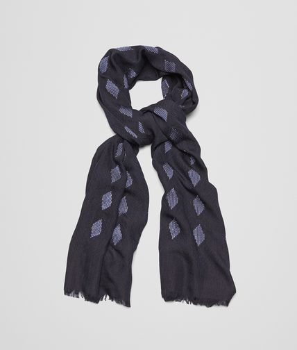 SCARF IN MIDNIGHT BLUE SILK AND VISCOSE