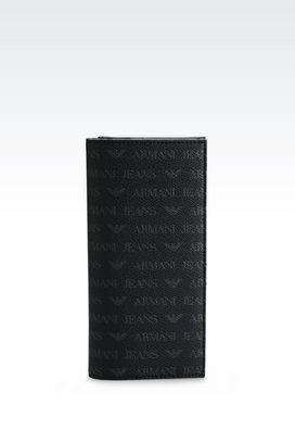 Armani Wallets Men yen wallet in logo patterned faux leather