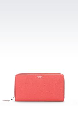 Armani Wallets Women zip around wallet in printed calfskin
