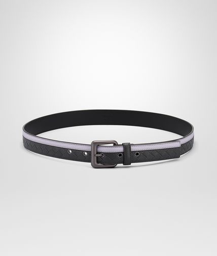 BELT IN OYSTER MEDIUM GREY INTRECCIATO NAPPA