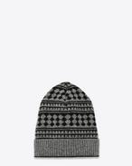 Classic Ski Hat in Black and Heather Grey Geometric Jacquard