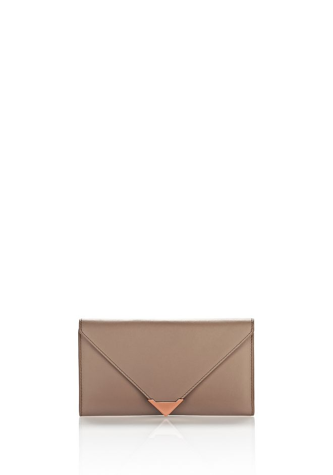 ALEXANDER WANG Wallets Women PRISMA ENVELOPE WALLET IN LATTE WITH ROSE GOLD