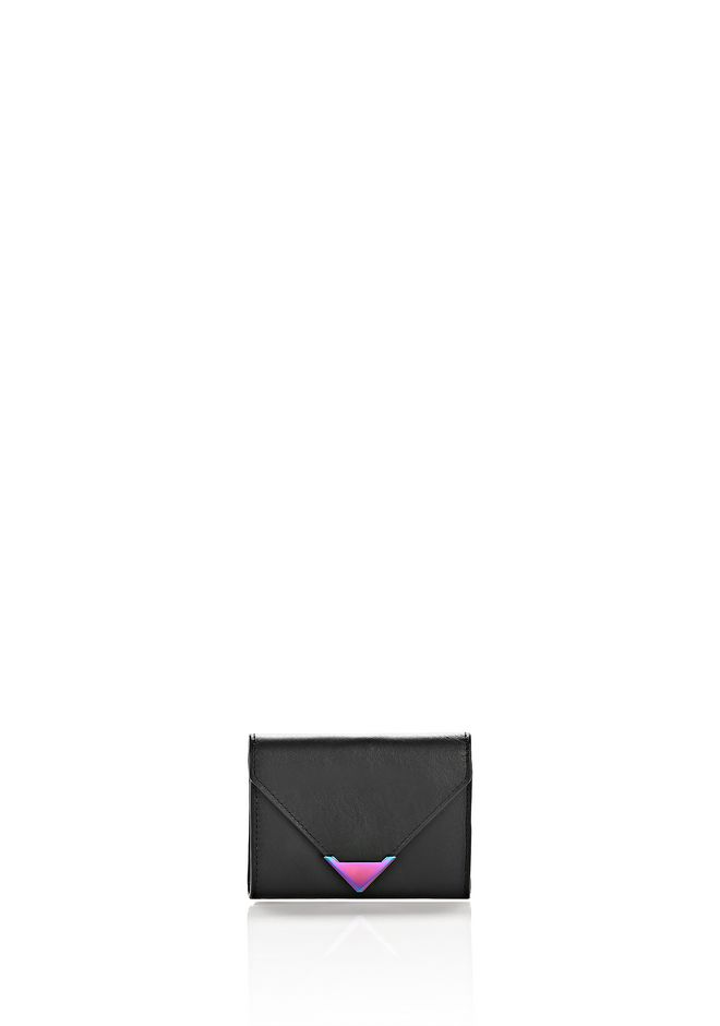 ALEXANDER WANG SMALL LEATHER GOODS Women EXCLUSIVE PRISMA ENVELOPE COMPACT IN BLACK WITH IRIDESCENT