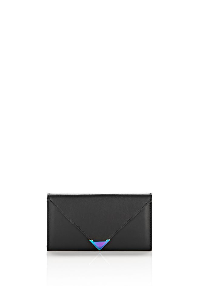 ALEXANDER WANG Wallets Women EXCLUSIVE PRISMA ENVELOPE WALLET IN BLACK WITH IRIDESCENT