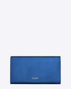 CLASSIC SAINT LAURENT PARIS LARGE FLAP WALLET IN Royal Blue LEATHER