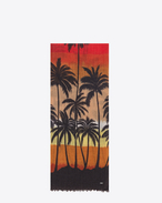 Signature Oversized Scarf in Red, Yellow and Black Palm Trees at Sunset Printed Wool Étamine