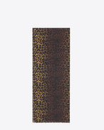 Signature Oversized Scarf in Ochre and Black Wild Leopard Printed Wool Étamine