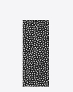 Signature Oversized Scarf in Black and Off White Star Printed Wool Étamine