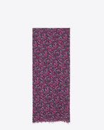 Signature Oversized Scarf in Fuchsia and Black Floral Printed Wool Étamine